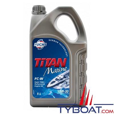 Fuchs - Titan marine FC-W SAE 10W-30 - Lubrifiant pour moteurs marins  - 4 temps - Essence - 5 litres