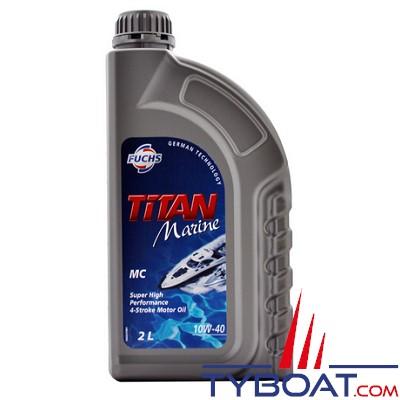 Fuchs - Titan marine MC 10W-40 - Lubrifiant pour moteurs marins 4 temps - Essence ou diesel - 2 litres