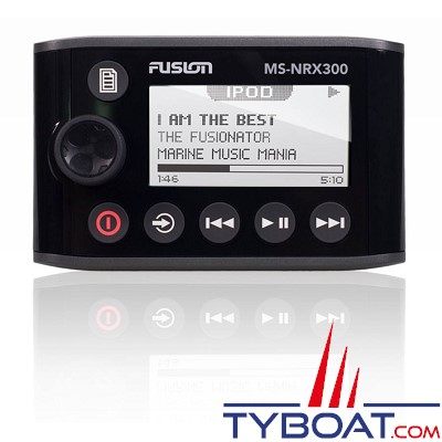 FUSION - MS-NRX300 - Télécommande filaire Marine étanche IPX7 - Chromée - Ecran LCD alphanumérique - Répétiteur NMEA2000