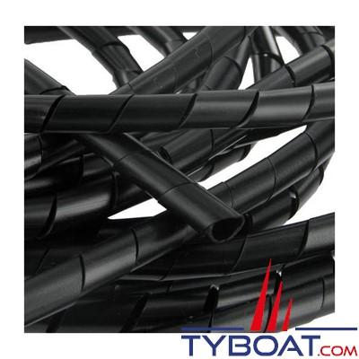 Gaine spiralée noire  - Ø faisceau 5 à 20mm - couronne de 25 m