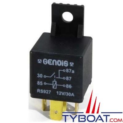 Genois - Mini relais unipolaire - 12 volts - 30 Ampères - 5 bornes avec diode et patte de fixation - (10 unités)