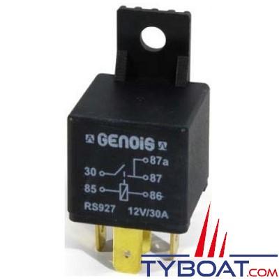 Genois - Mini relais unipolaire - 12 volts - 30 Ampères - 5 bornes avec diode et patte de fixation