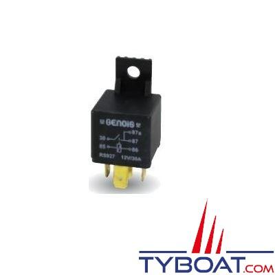 Genois - Mini relais unipolaire - 12 volts - 30 Ampères - 5 bornes avec patte de fixation