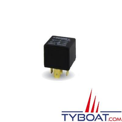 Genois - Mini relais unipolaire - 12 volts - 30 Ampères - 5 bornes sans patte de fixation - (10 unités)