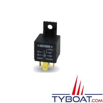 GENOIS - Mini relais unipolaire 5 bornes avec patte de fixation 12V 30A - 1 unité