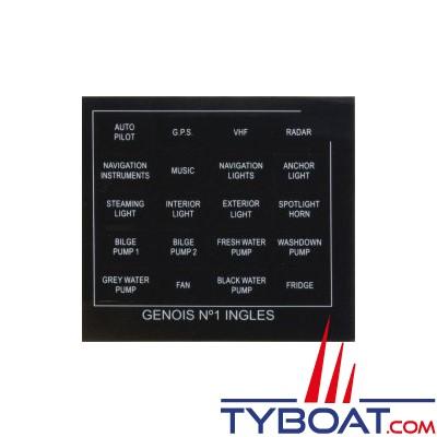 Genois - Planche 20 étiquettes anglais
