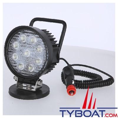 Genois - Projecteur 9 LEDs EPISTAR - 27W 1650 lumens - embase magnétique 41kg - cordon 3 mètres + allumecigare - 12/24V