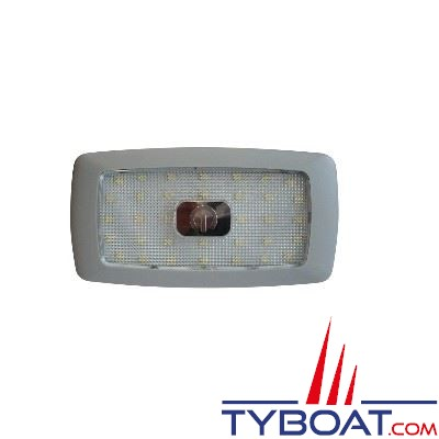 Plafonnier extra-plat 34 LEDs 12V interrupteur tactile blanc chaud