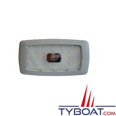 Plafonnier extra-plat 34 LEDs 24V interrupteur tactile blanc chaud