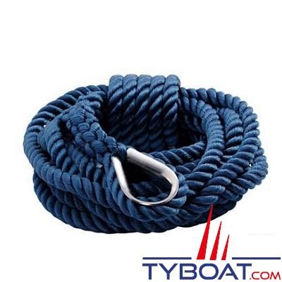 GS Marine - Bosse d'amarrage - Bleu - Cosse inox -   Ø 12mm - 7 mètres
