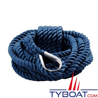 GS Marine - Bosse d'amarrage - Bleu - Cosse inox -   Ø 14mm - 7 mètres