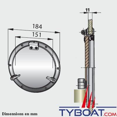 Hublot inox Vetus type PQ52 Ø 151 mm