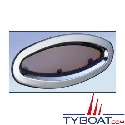 Lewmar - Hublot inox chromé ouverture fixe taille 8 196x452 mm.
