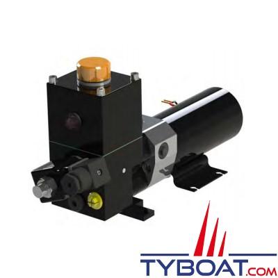 Hy-ProDrive - Pompe hydraulique réversible PR+08 12 RU avec réservoir et embrayage - 12 Volts - 0,8 Litre/Minute