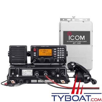 ICOM - Pack BLU marine IC-M810E 1.6-27.50MHz 85/125W 12V 1195 canaux classe E, avec coupleur d'antenne automatique HF 1.6-30MHz AT-141