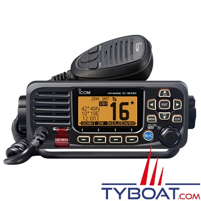 ICOM - VHF marine fixe IC-M330GE Classe D ASN avec GPS intégré - IPX7 noire