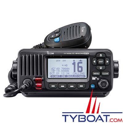 ICOM - VHF marine fixe IC-M423G Classe D ASN avec GPS intégré - IPX7 noire