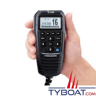 Micro déporté Icom HM-195GB noir IPX7 longueur câble 6,1m pour VHF fixes IC-M423G, IC-M400BB et IC-M506EUROPLUS