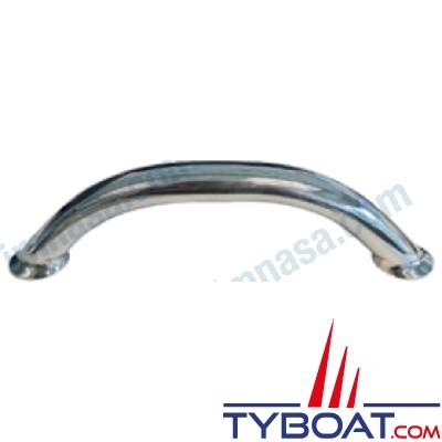 Main courante tube inox - Ø 25 mm - longueur hors tout 24cm - hauteur 6 cm