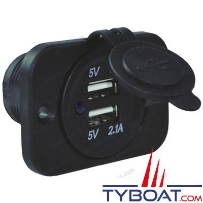 Prise à encastrer 2 entrées USB - 5V/2A - 12/24V DC