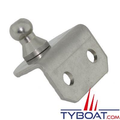 Support d'amortisseur 90° avec boule de Ø 10 mm. en inox
