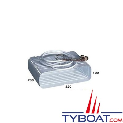 Indel Marine - Evaporateur caisson 320 x 230 x 100 mm avec raccords