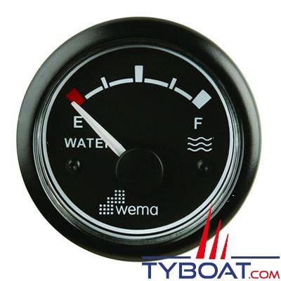 Indicateur de niveau d'eau Wema cadran noir - enjoliveur noir 0-180 Ohms 12/24 volts