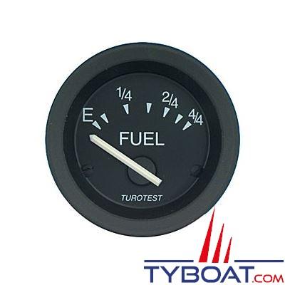 Indicateur niveau carburant Turotest Fuel 52 noir 12V Ø 52mm