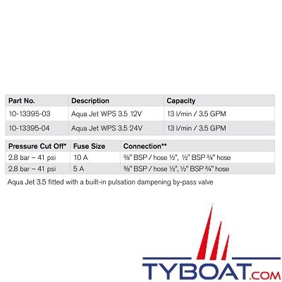 Johnson Pump - Groupe d'eau Aqua Jet WPS 3.5 - 13 Litres/minute - 12 Volts