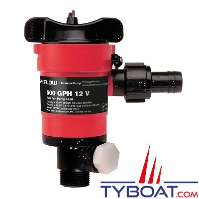 Johnson Pump - Pompe à eau double sortie TYPE 550 (Vivier et Lavage) 50 Litres/Minute