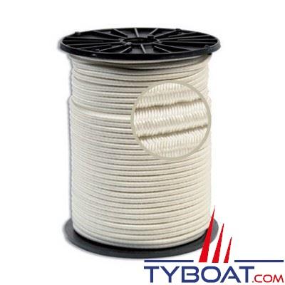 Tresse polyester élastique anti-U.V Ø 8mm bobine 100 mètres blanc