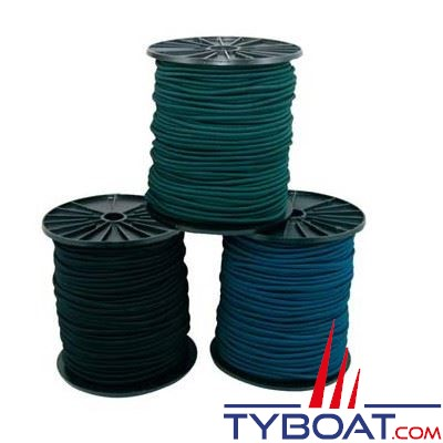 Tresse polyester élastique anti-U.V Ø 8mm bobine 100 mètres bleu