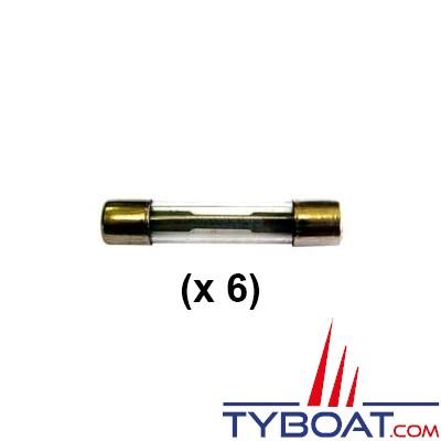 Lot de 6 fusibles en verre - 6 x 32 mm - 15 Ampères
