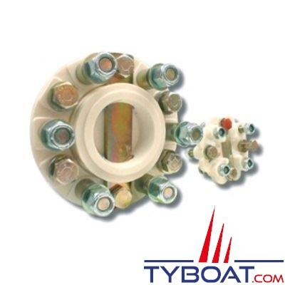Accouplement semi-élastique 8 Cv/100 tr/min - pour tourteau Ø127,0mm - entraxe 107,9mm