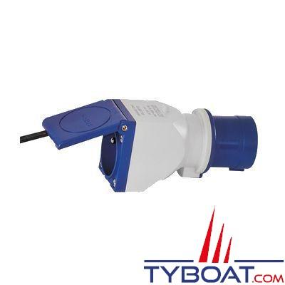 Adaptateur CEE P17 bleu à clapet 2P + T 16A