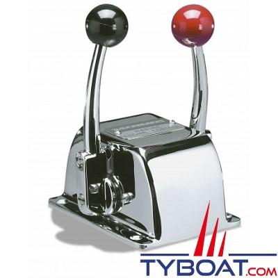 Boitier de commande pupitre bi-levier, mono-fonctionde type Teleflex Marine série S - gaz et/ou inverseur