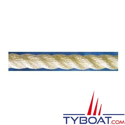 Cordage blanc polyamide 3 torons Ø  8mm au mètre