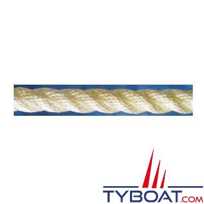 Cordage blanc polyamide 3 torons Ø  8mm x100 mètres