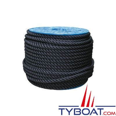Cordage Noir polyester 3 torons Ø 14mm au mètre