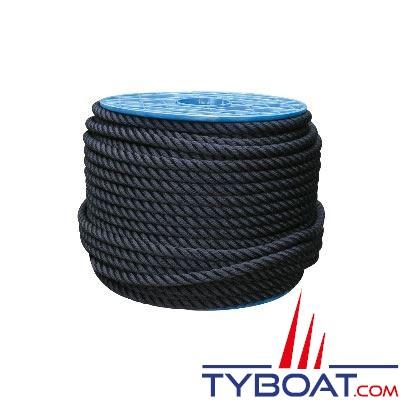 Cordage Noir polyester 3 torons Ø 16mm au mètre