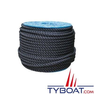 Cordage noir polyester 3 torons Ø 18 mm au mètre