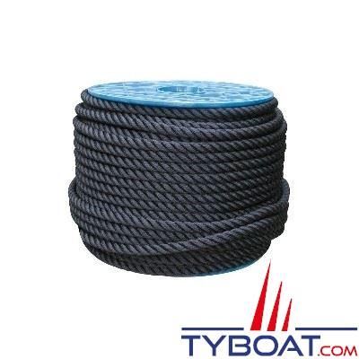 Cordage noir polyester 3 torons Ø  8 mm (au mètre)
