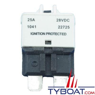 Disjoncteur thermique type 227 unipolaire réarmable 12/24V blanc 25A