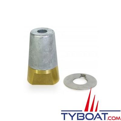 Ecrou anodique + anode conique à clavette + rondelle freins-vis 16x200mm - pour arbre 22/25mm