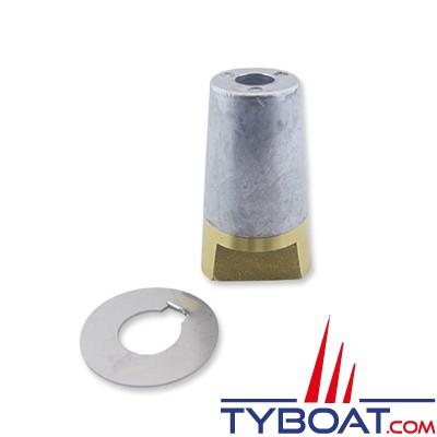 Ecrou anodique + anode conique à clavette + rondelle freins-vis 20x150mm - pour arbre 30mm