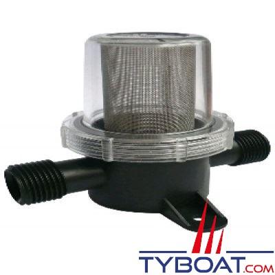 """Filtre pour protection de pompe à membrane sur circuit d'eau - Maille fine Entrée/sortie 1/2"""" fileté"""