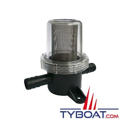 Filtre pour protection de pompe à membrane sur circuit d'eau - maille fine entrée/sortie 1/2