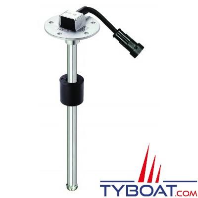 Jauge inox de niveau eau/carburant à flotteur SAE 12/24V - 10-180O - 350 mm