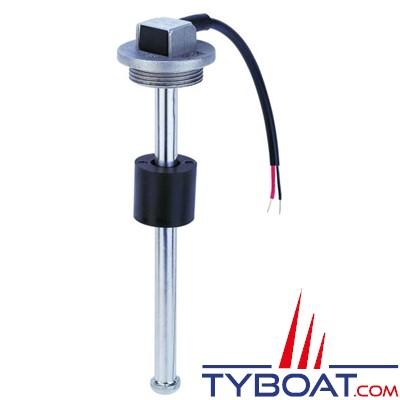Jauge inox de niveau eau/carburant à visser 12/24V - 10-180O - 200 mm