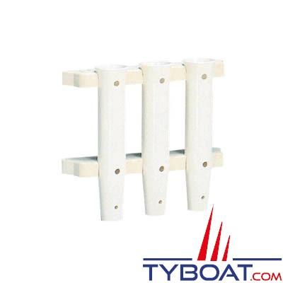 Porte-cannes triple plastique renforcé montage à plaquer Ø intérieur 41 mm hauteur 250 mm